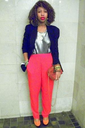 red silk long vintage pants - black boyfriend vintage blazer
