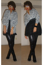 white vintage blouse - black f21 tights - black Guess