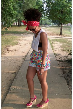 pink floral vintage shorts - pink wedges Chinese Laundry shoes - white DIY shirt