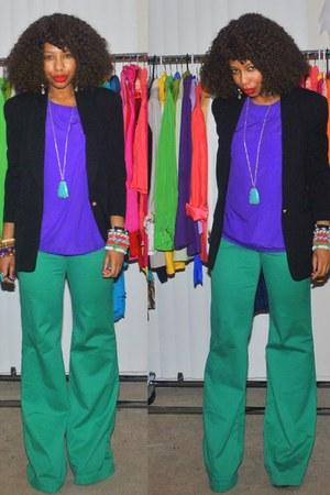 black chic Posh Nouveau blazer - deep purple chic Posh Nouveau blouse