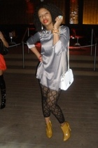 f21 dress - vintage - tights - shoes