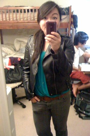 black Forever 21 jacket - blue Lush top - gray Forever 21 jeans - brown American