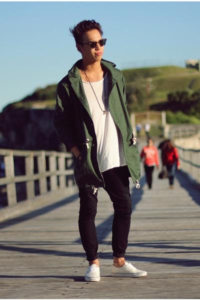 black denim black chronicles of never jeans - green parka khaki MrSimple jacket