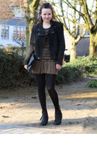 black acne pistol boots boots - black zara Leather jacket jacket - bronze isabel