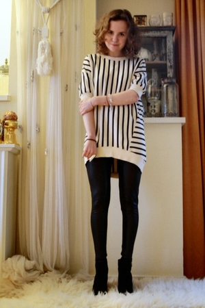 white acne top - black Topshop leggings - black H&amp;M shoes