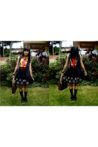 yellow blouse - blue ribbon vest - black skirt - black socks - black shoes - pin