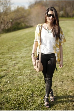 aquamarine talbots necklace - cream kimono Forever 21 shirt - neutral volcom bag