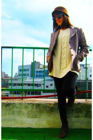 brown boots - brown homemade woolen hat - brown checkered jacket - eggshell wool
