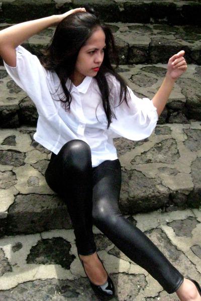 Shiny White Leggings Shiny Leggings Loose Top