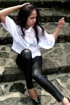 black Centropell heels - shiny leggings - loose top