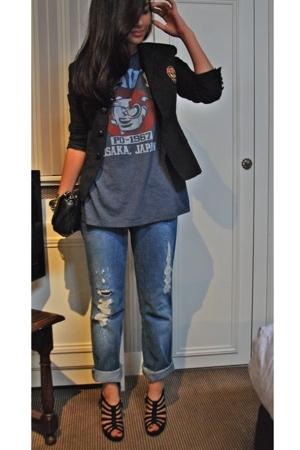 Ralph Lauren blazer - t-shirt - Secondhand jeans - Fendi shoes - Chanel wallet