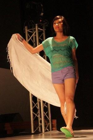 Forever21 shirt - Pashmina scarf - Forever 21 shorts - Forever 21 bra