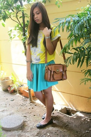 brown bag - turquoise blue Custom-made skirt - yellow blouse