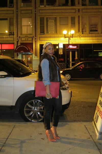 brick red envelope clutch asos purse - black waxed H&M jeans