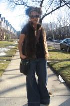 dark brown faux fur Kenar vest - eggshell Ugg boots