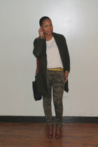 brown ankle boots Zara shoes - forest green knit sweater Zara sweater