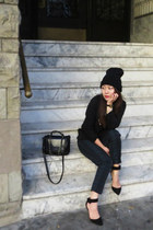 navy H&M bag - dark green H&M pants - black madewell sweatshirt - Zara heels