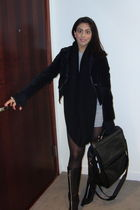 black Kors by Michael Kors boots - black HUE tights - gray bianca nygard sweater