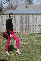 ivory blouse - black sweater - brown purse - hot pink pants - neutral rsvp heels