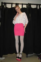pink skirt - pink shoes - silver stockings - white top