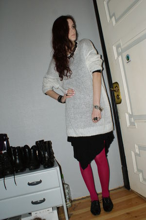 pink tights - black dress - white dress - black shoes