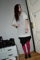 pink tights - black dress - white dress - black shoes