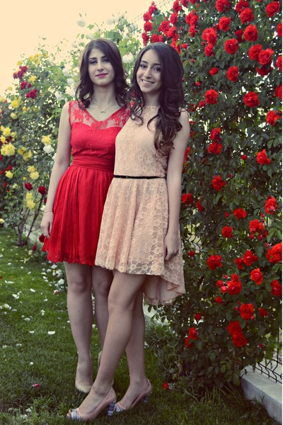 red vintage dress - light pink lace dress