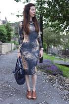 gold Miss Selfridge necklace - heather gray Topshop dress - navy Topshop bag