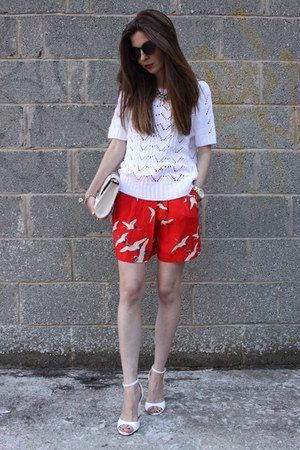 Zara shorts - H&M bag - Topshop sunglasses - Zara sandals - Monsoon jumper