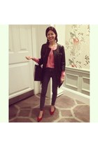 black leather see by chloé coat - red suede Marks and Spencers shoes