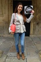 suede Shoe Station boots - Topshop jeans - jersey Boohoo blazer - H&M bag