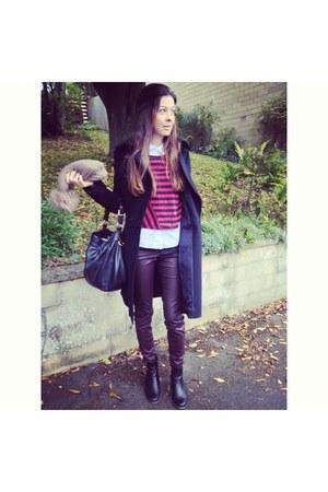 red Zara top - black Jones boots - black karen millen coat