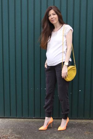 light orange River Island heels - yellow russell & bromley bag