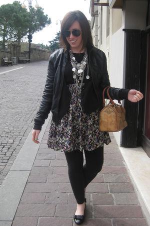 black imperial jacket - black H&M leggings - black shoes - black H&M skirt - sil