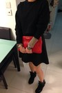 Black-izzue-dress-hot-pink-miu-miu-bag-black-steve-madden-sneakers
