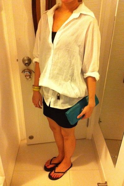 Jcrew top - Havaianas sandals - Topshop skirt