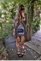 blue sequin Aje skirt