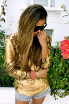 gold asos top