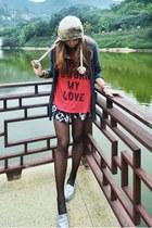 brown Topshop hat - navy Maurie & Eve shorts - salmon wild fox t-shirt