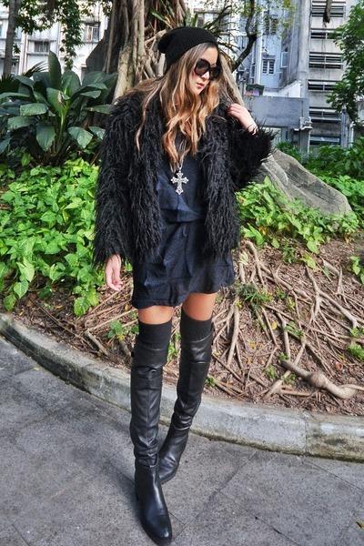 black Zara boots - black Bodkin dress - black Topshop hat