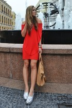 ruby red stolen girlfriends club dress - nude Givenchy bag - silver TOMS loafers