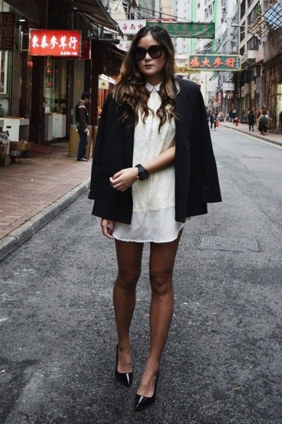 black Carin Wester blazer - white Maurie & Eve dress - black Celine sunglasses