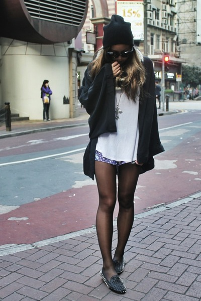 black One Teaspoon coat - black Topshop hat - purple One Teaspoon shorts