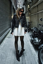 black Zara boots - white moussy dress - black The Sway jacket