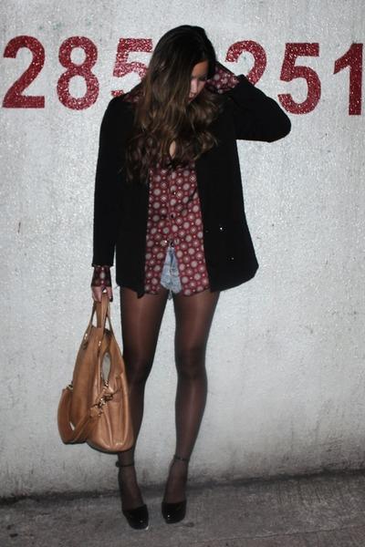 black Carin Wester jacket - magenta Zara shirt - black Zara scarf