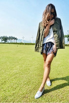 olive green Maison Skotch jacket - blue Maurie & Eve shorts - silver TOMS flats