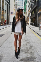 leather jacket versace jacket - Zara boots - H&M hat