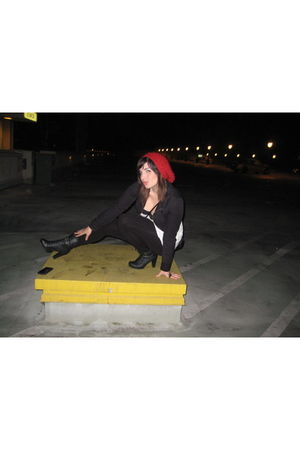 red Forever 21 hat - black Forever 21 boots