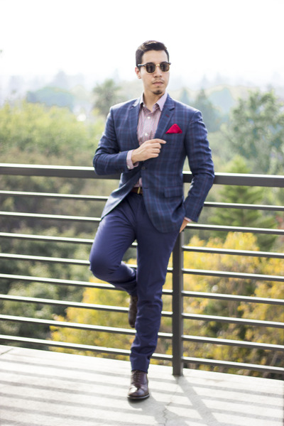 zeroUV sunglasses - brown gordon rush shoes - Chookhare & Sons blazer