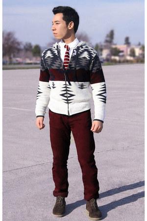 zipper Macys hoodie - brown desert H&M boots - purple chinos pants